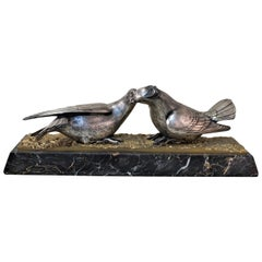 French Art Deco Bronze and Silver Sculpture of Two Birds