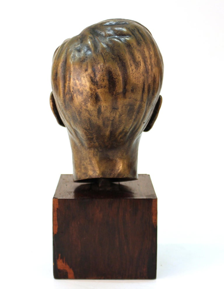 Early 20th Century French Art Deco Bronze Bust of a Young Boy For Sale