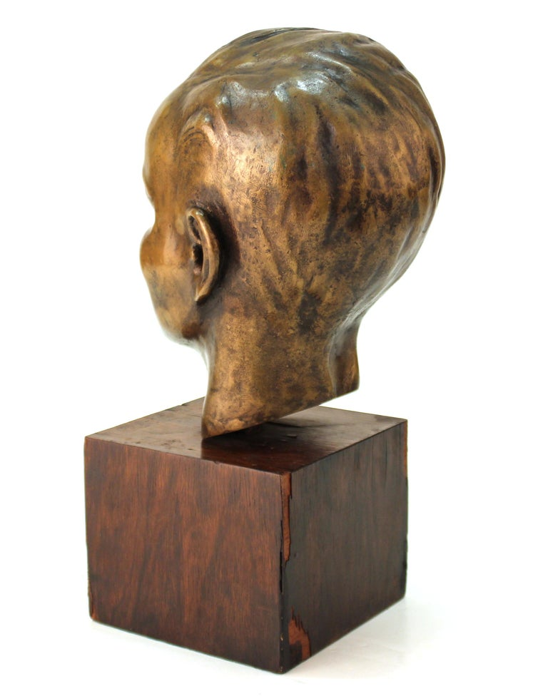 French Art Deco Bronze Bust of a Young Boy For Sale 1