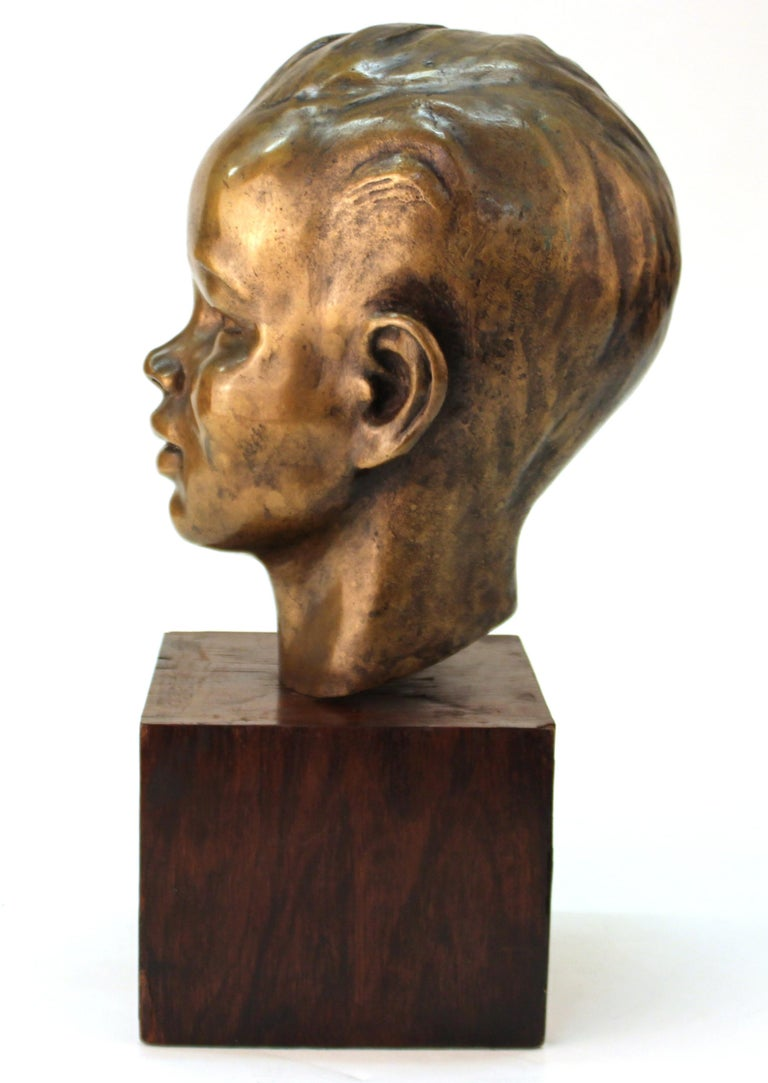French Art Deco Bronze Bust of a Young Boy For Sale 2