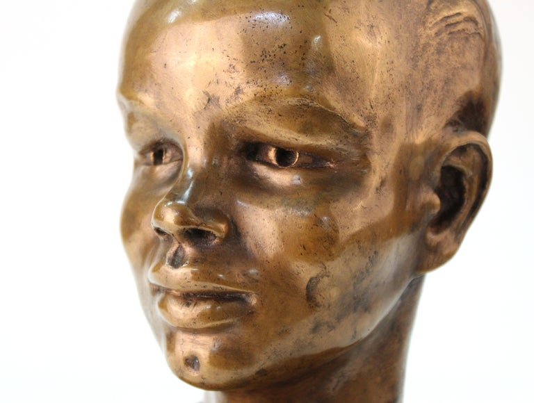 French Art Deco Bronze Bust of a Young Boy For Sale 3