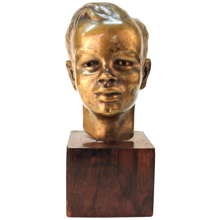 French Art Deco Bronze Bust of a Young Boy For Sale
