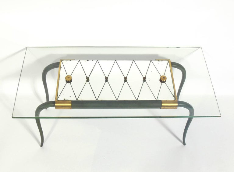 French Art Deco Bronze coffee table, France, circa 1930s. Retains warm original verdigris patina to the bronze.