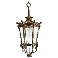 French Art Deco Bronze Cut Glass Six-Sided Lantern, Hall Pendant