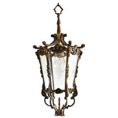French Art Deco Bronze Cut Glass Six-Sided Lantern, Hall Pendant