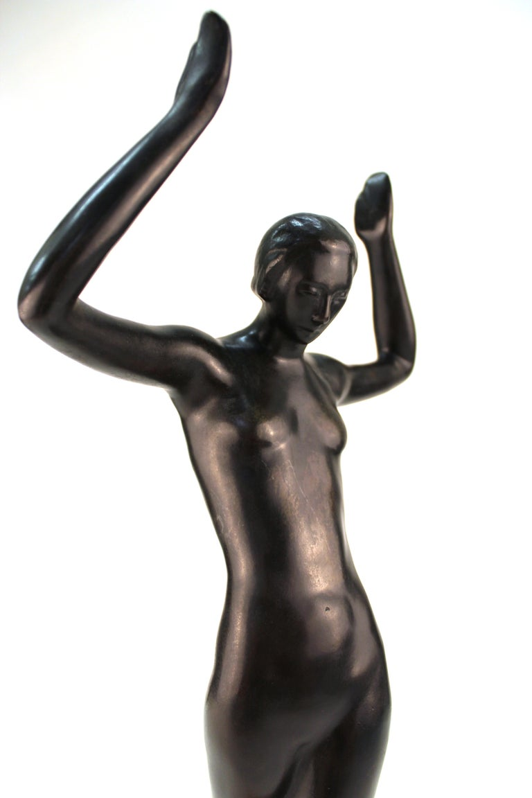French Art Deco Bronze Dancer Sculpture For Sale 5