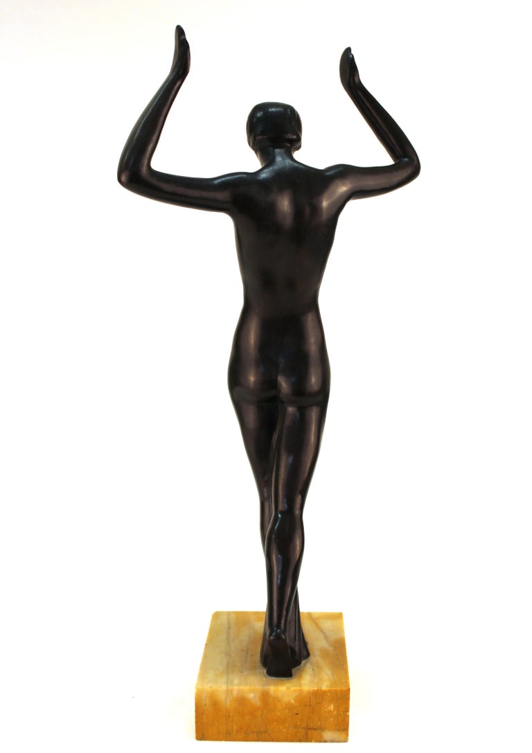 Early 20th Century French Art Deco Bronze Dancer Sculpture For Sale
