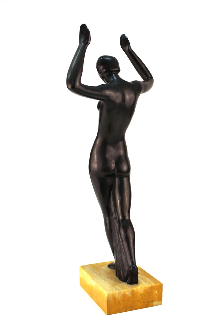 Marble French Art Deco Bronze Dancer Sculpture For Sale
