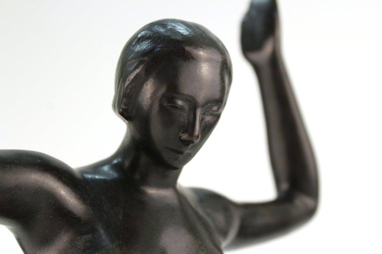 French Art Deco Bronze Dancer Sculpture For Sale 4