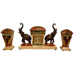 French Art Deco Bronze Elephant Sculptures on Marble with Clock and Garnitures
