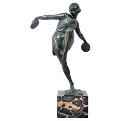 French Art Deco Bronze Female Cymbal Dancer Statue Figure Pierre Le Faguays 1925