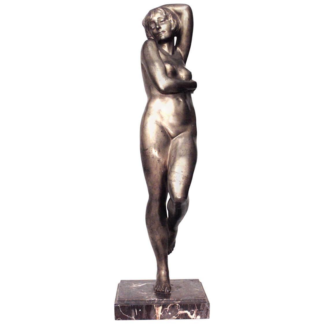 French Art Deco Bronze Nude Female Dancer