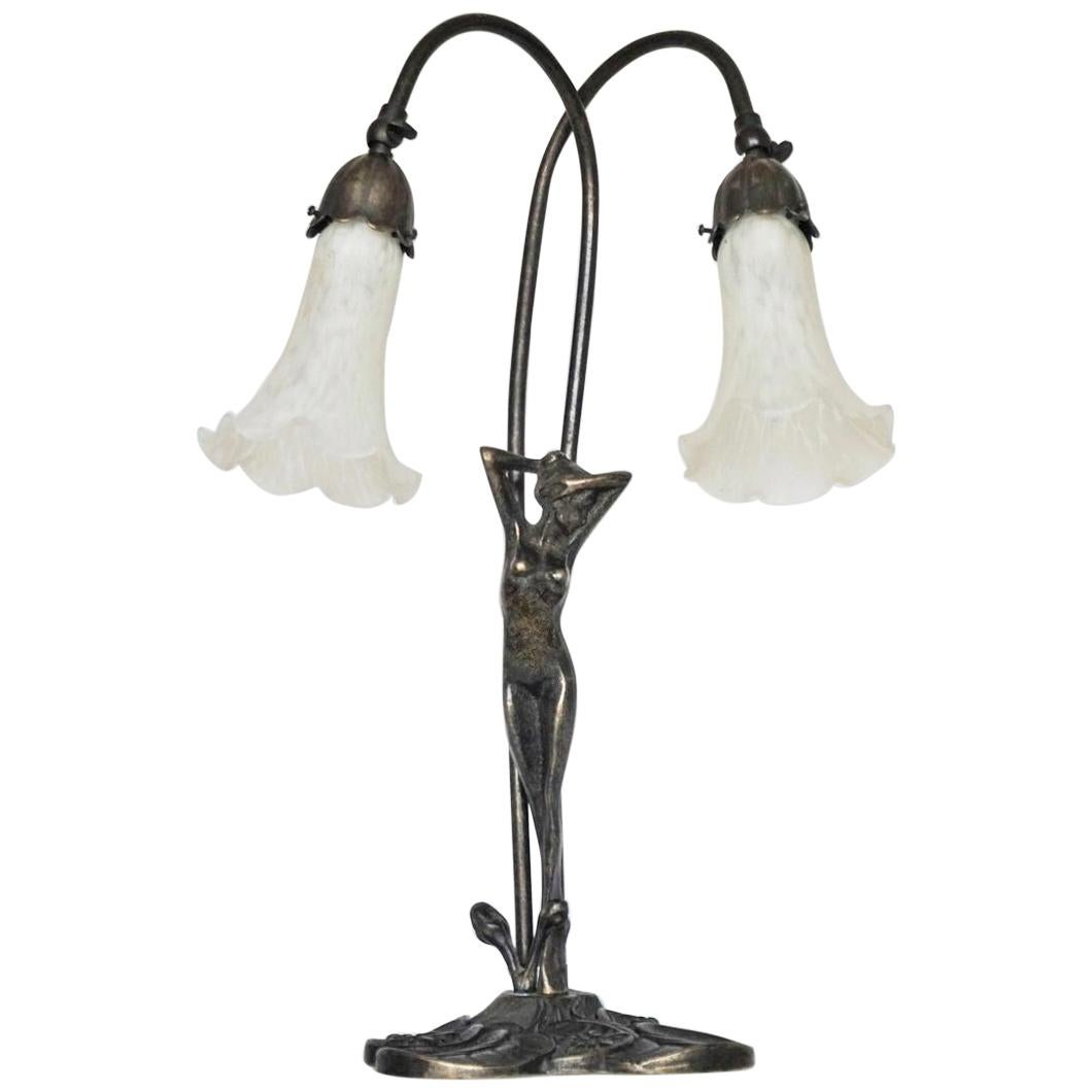 French Art Deco Bronze Figurine Articulated Double Arm Table Lamp