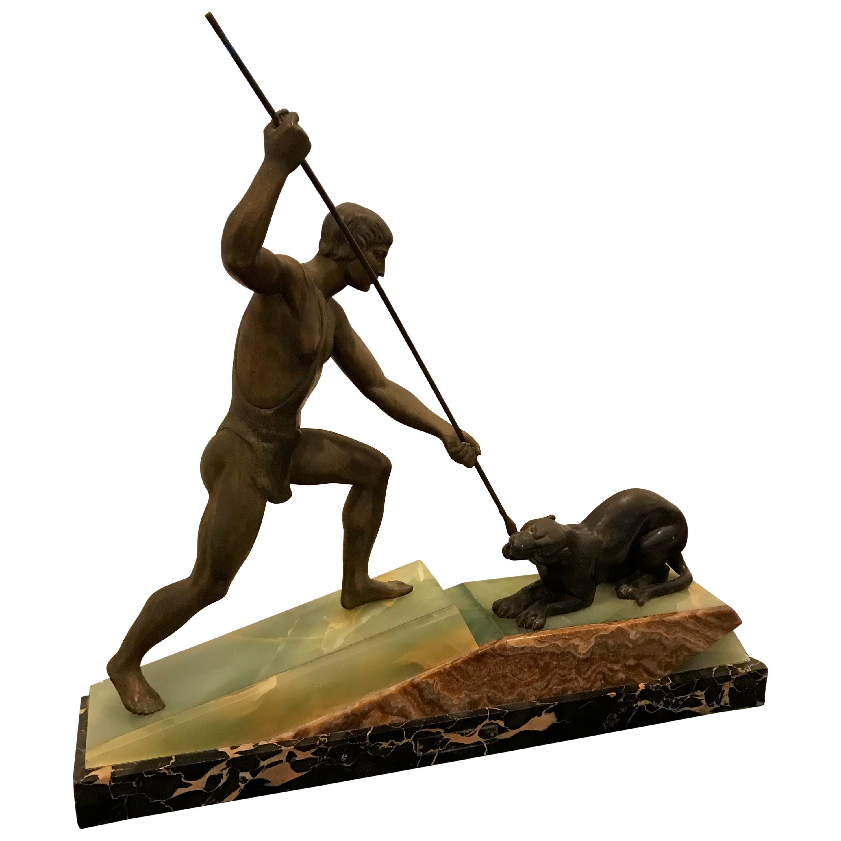 French Art Deco Bronze Hunter and Panther Sculpture Signed Lemoine