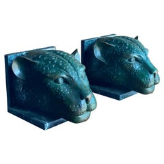French Art Deco Bronze & Marble Cheetah Heads in the Manner of Max Le Ferrier