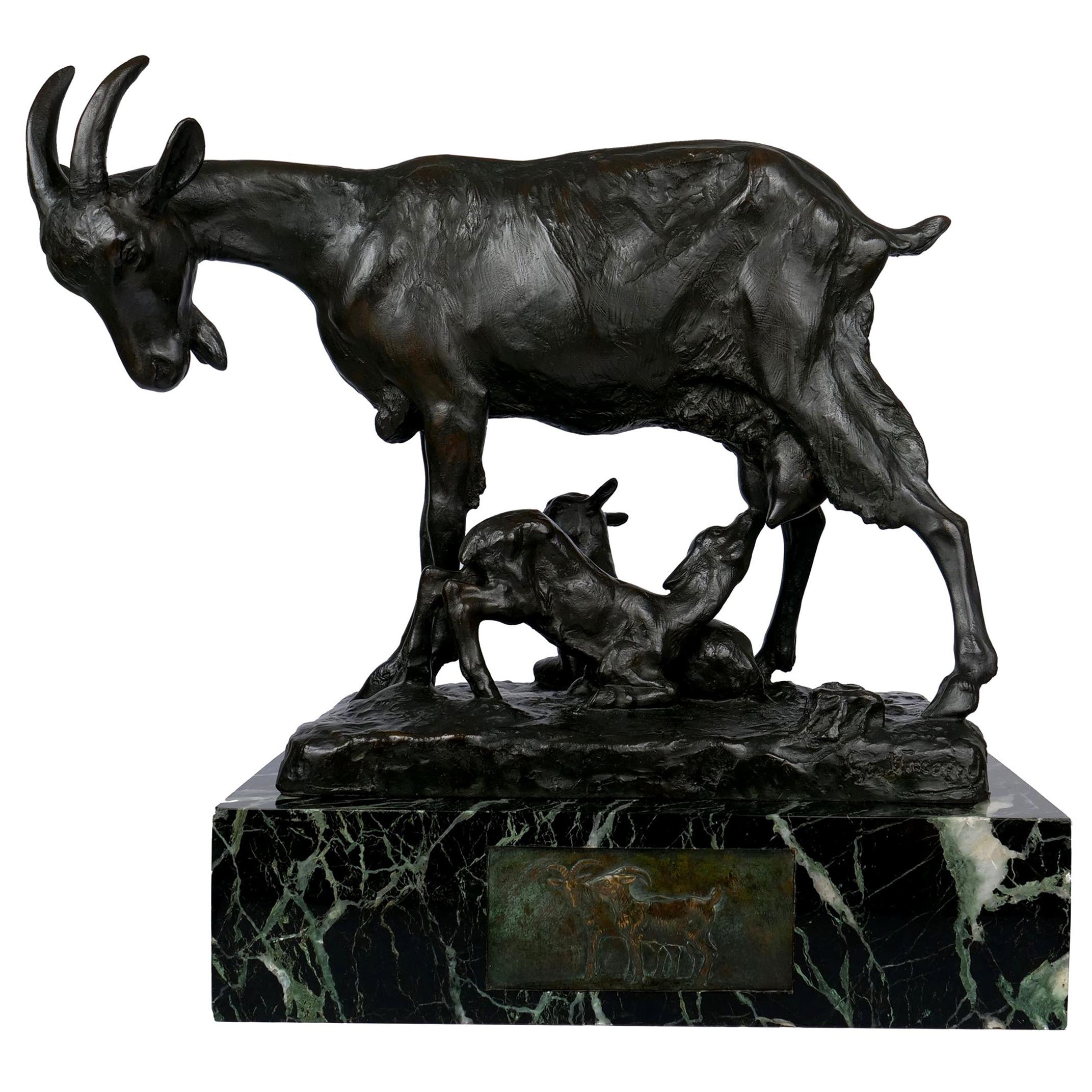 French Art Deco Bronze Sculpture of Goat Family by Georges Vacossin