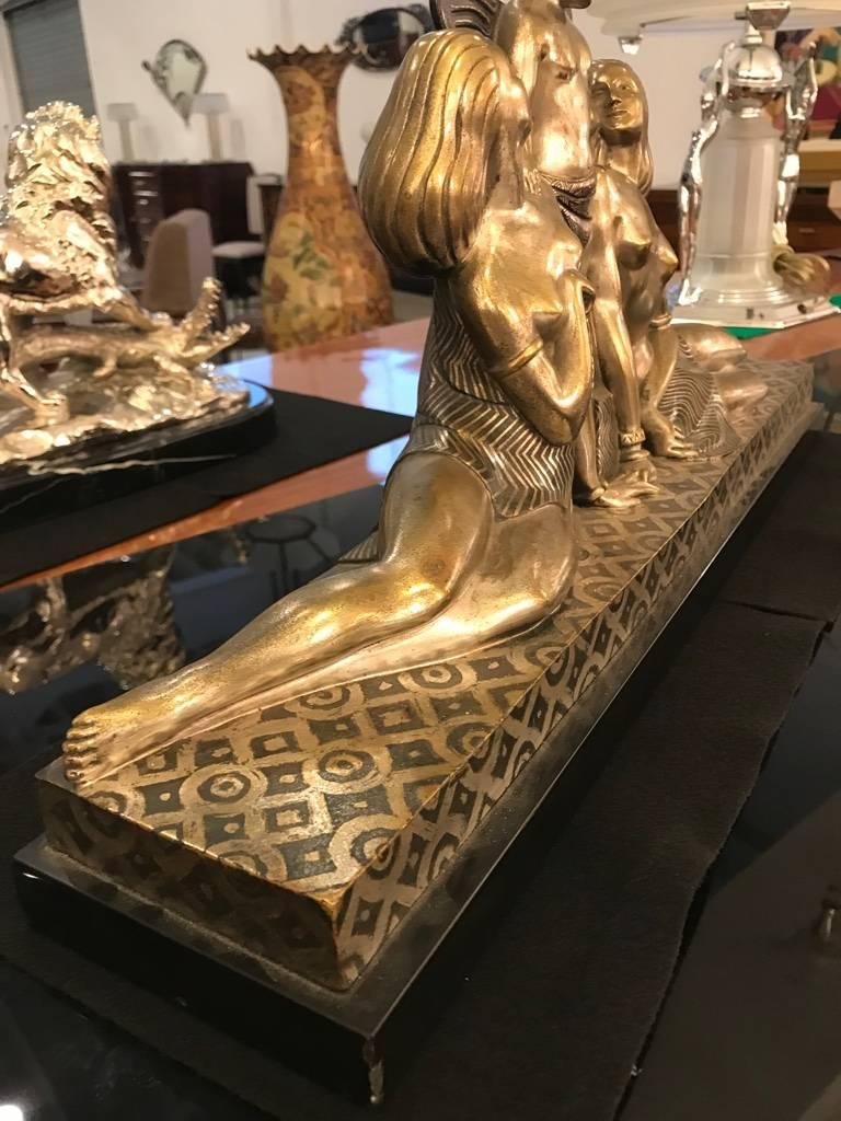 French Art Deco Bronze Sculpture Signed by Jules Delabasse For Sale 2