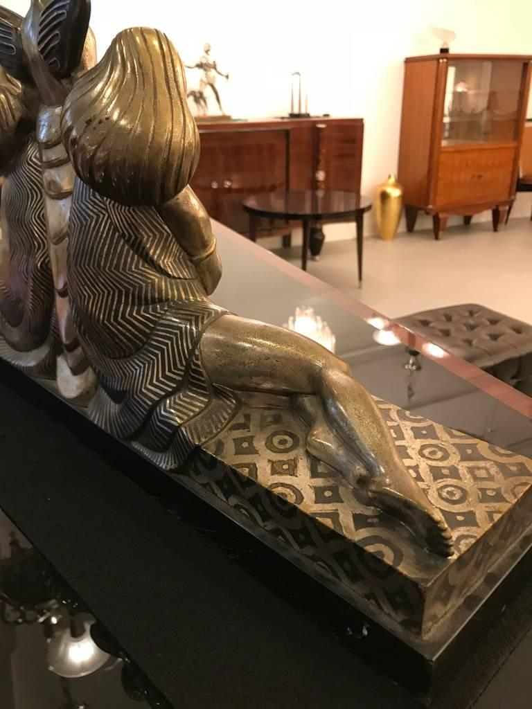 French Art Deco Bronze Sculpture Signed by Jules Delabasse For Sale 4