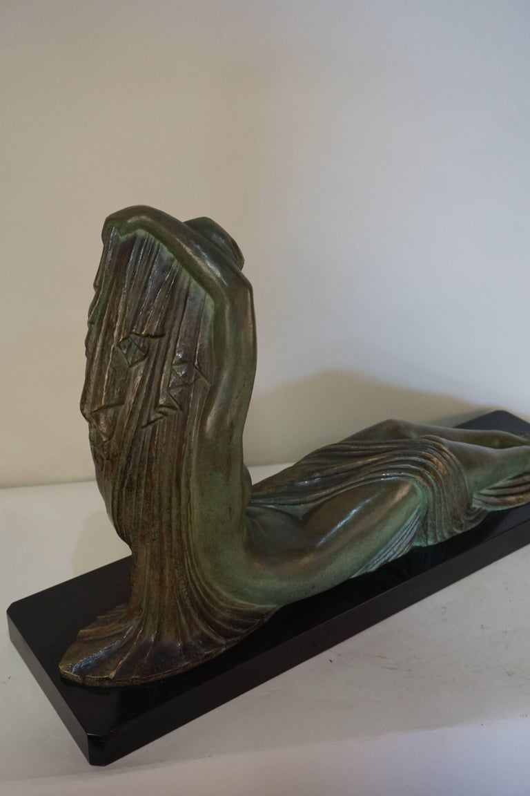 French Art Deco Bronze Seated Nude by Demeter Chiparus For Sale 6