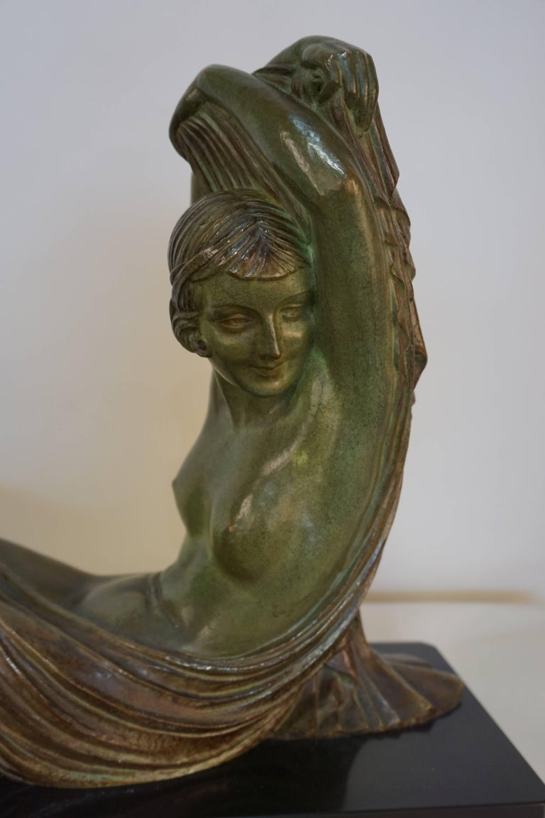 French Art Deco Bronze Seated Nude by Demeter Chiparus For Sale 1
