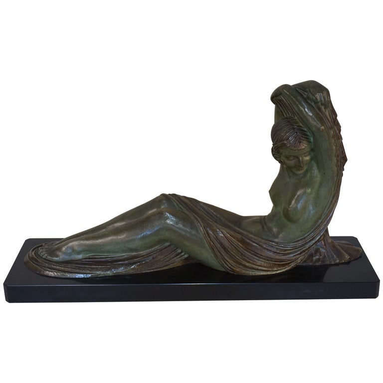 French Art Deco Bronze Seated Nude by Demeter Chiparus For Sale