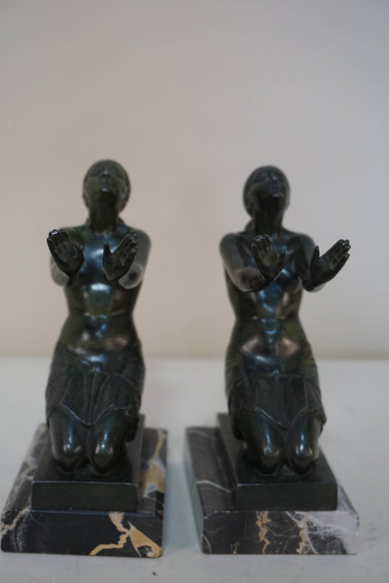 French Art Deco Bronze Bookends Man Writing Lady Reading