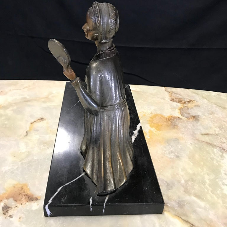 French Art Deco Bronze Spelter Sculpture of Lady with Her Mirror For Sale 6