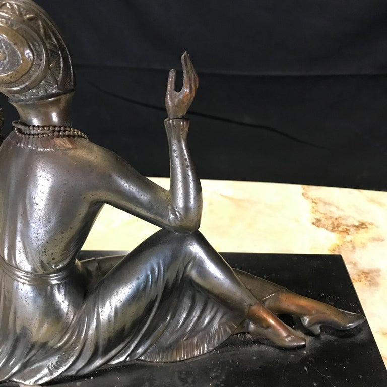 French Art Deco Bronze Spelter Sculpture of Lady with Her Mirror For Sale 7
