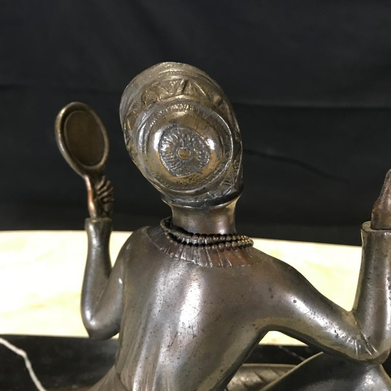 French Art Deco Bronze Spelter Sculpture of Lady with Her Mirror For Sale 8