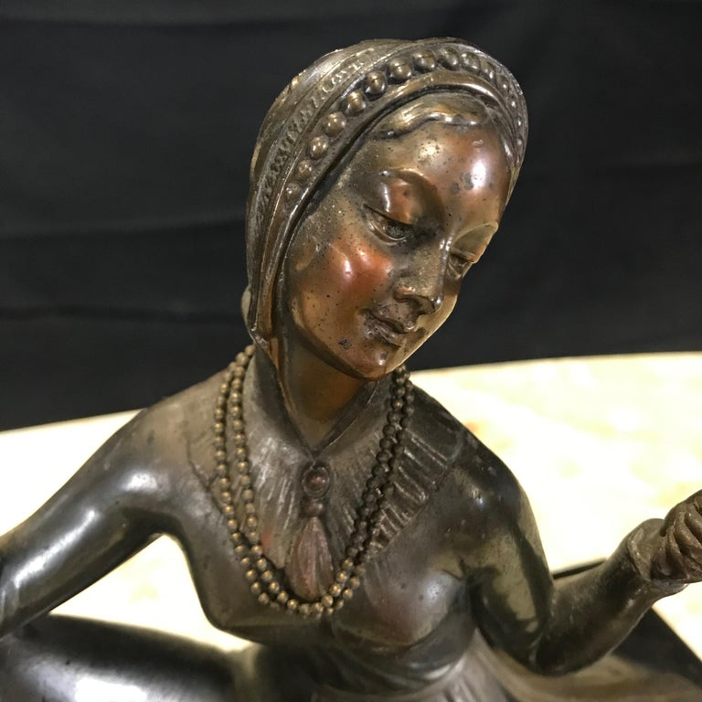 French Art Deco Bronze Spelter Sculpture of Lady with Her Mirror In Good Condition For Sale In Hopewell, NJ