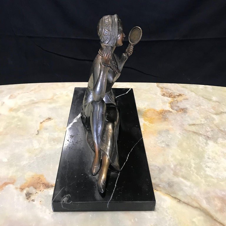 Mid-20th Century French Art Deco Bronze Spelter Sculpture of Lady with Her Mirror For Sale