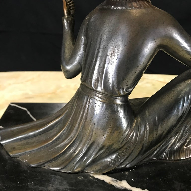 French Art Deco Bronze Spelter Sculpture of Lady with Her Mirror For Sale 1