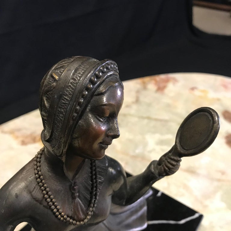 French Art Deco Bronze Spelter Sculpture of Lady with Her Mirror For Sale 2
