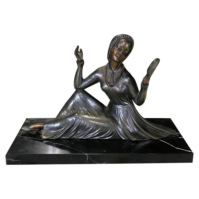 French Art Deco Bronze Spelter Sculpture of Lady with Her Mirror For Sale