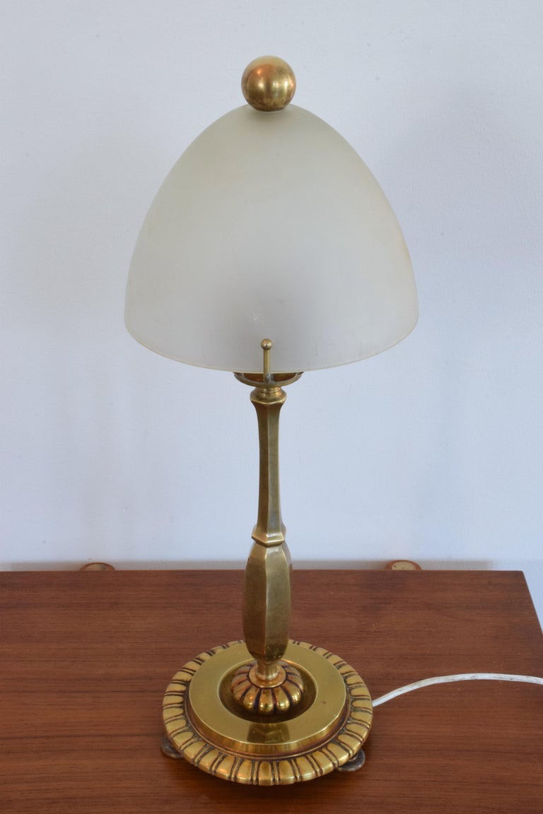 French Art Deco Bronze Table Lamp By Henry Petitot 1930s