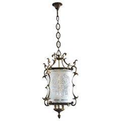 French Art Deco Bronze Three-Light Lantern with Cylindrical Etched Glass Shade