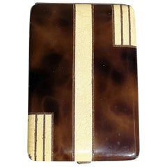 French Art Deco Brown Lacquered Silver and Eggshell Cigarette Case, circa 1930