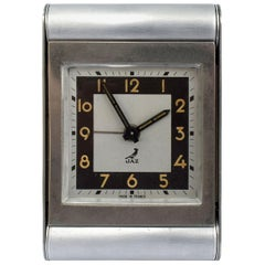 French Art Deco Brushed Steel Travel Alarm by JAZ, circa 1930