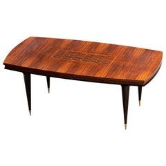 French Art Deco Brutalist Table, Macassar, 1940s