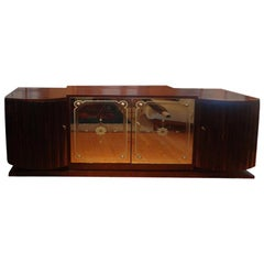 French Art Deco Buffet with Mirrored Doors