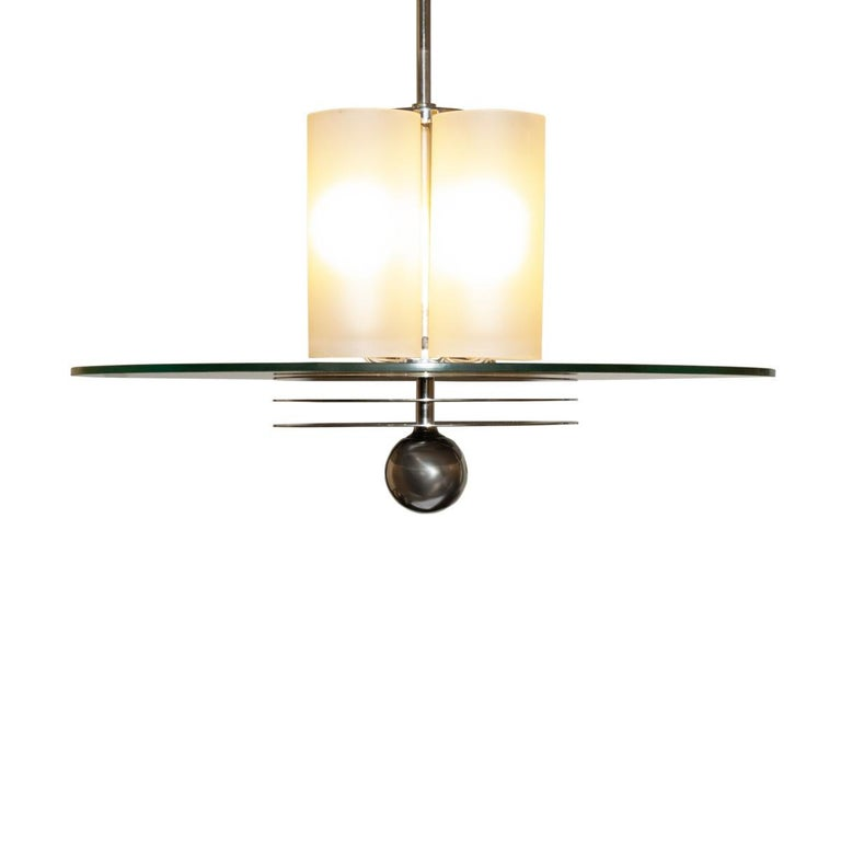 Mid-20th Century French Art Deco Bunished Nickel and Glass Pendant Light Fixture For Sale
