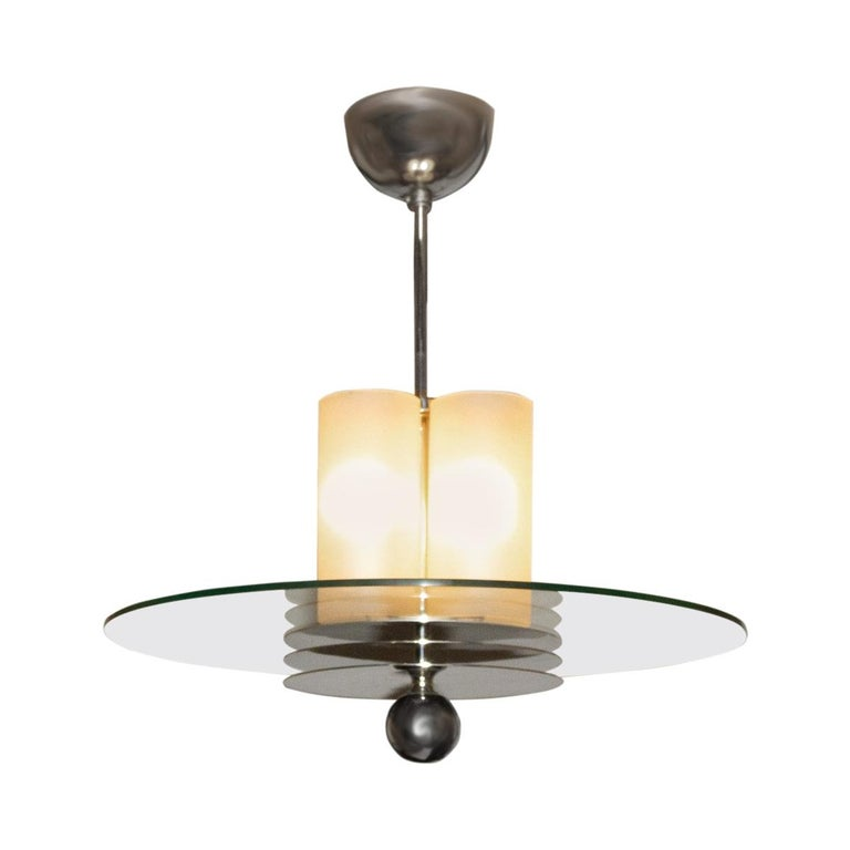 French Art Deco Bunished Nickel and Glass Pendant Light Fixture For Sale