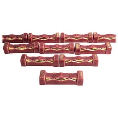 French Art Deco Burgundy and Gold Knife Rests, Set of 10