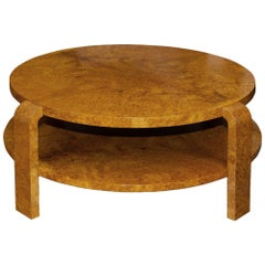French Art Deco Burl Two Level Round Cocktail Table