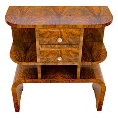 French Art Deco Burl Walnut Accent Table