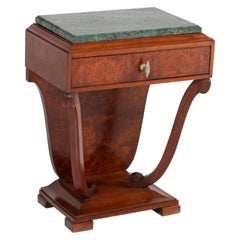 French Art Deco Burl Walnut Nightstand with Patricia Green Marble Top, 1930s