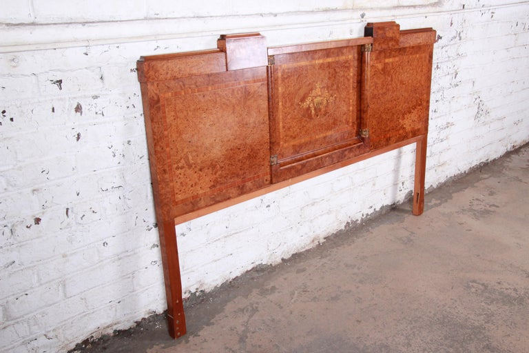 French Art Deco Burl Wood and Inlaid Marquetry King Headboard, circa 1930s In Good Condition For Sale In South Bend, IN