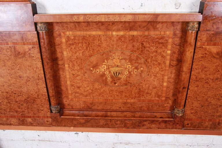 Mid-20th Century French Art Deco Burl Wood and Inlaid Marquetry King Headboard, circa 1930s For Sale