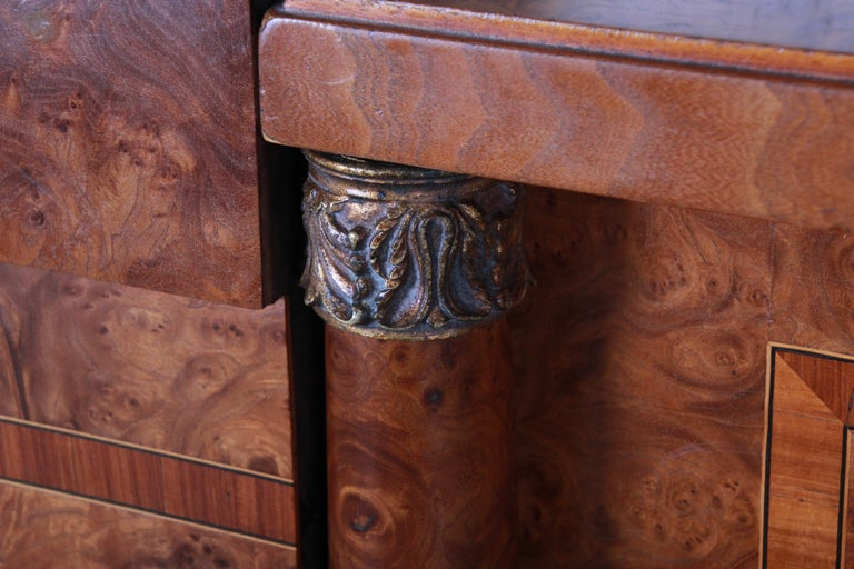 Brass French Art Deco Burl Wood and Inlaid Marquetry King Headboard, circa 1930s For Sale