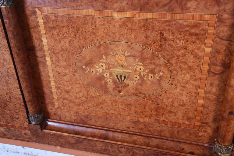 French Art Deco Burl Wood and Inlaid Marquetry King Headboard, circa 1930s For Sale 1